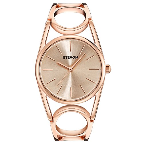 51nBu6KY%2BnL ♥UNIQUE ELEGANT DESIGN : The watch features with rose gold-toned watch case with simple display design and unique round-hollowed bracelet. Perfect for all kind of business, casual, indoor activities and daily use ♥GIFT PACKAGE READY : Comes in an elegant gift box. No wrapping needed. Perfect gift for Mother's Day, Anniversary Day, Valentines Day and Birthday to your girlfriend, wife and mom ♥WATER RESISTANT FOR DAILY USE : Hand washing, splashing and raining are all no problem. NOTE: Please DO NOT IMMERSE IN WATER CHRONICALLY