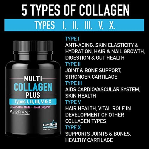 Multi Collagen Pills (Types I, II, III, V & X) - Collagen Peptides + Absorption Enhancer - Grass Fed Collagen Protein Blend for Anti-Aging, Hair, Skin, Nails and Joints (90 Collagen Capsules) 5