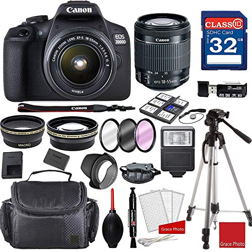 Canon EOS 2000D Rebel T7 Kit with EF-S 18-55mm f/3.5-5.6 is II Lens + Professional Accessory Bundle