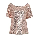 Soly Tech Women Shiny Sequin 3/4 Sleeve Bling Loose Blouse T-Shirt Tops Tee