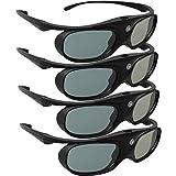 DLP Link 3D Glasses, ELEPHAS 144Hz Rechargeable Active Shutter Eyewear for Most DLP-Link 3D Projectors- Acer, ViewSonic, BenQ Vivitek, Optoma, Panasonic, Dell, Viewsonic (4 Pack)