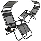 Super Decor Set of 2 Zero Gravity Outdoor Lounge Chairs w/Sunshade + Cup Holder with Mobile Device Slot Adjustable Folding Patio Reclining Chairs W/Canopy+ Snack Tray (Black)