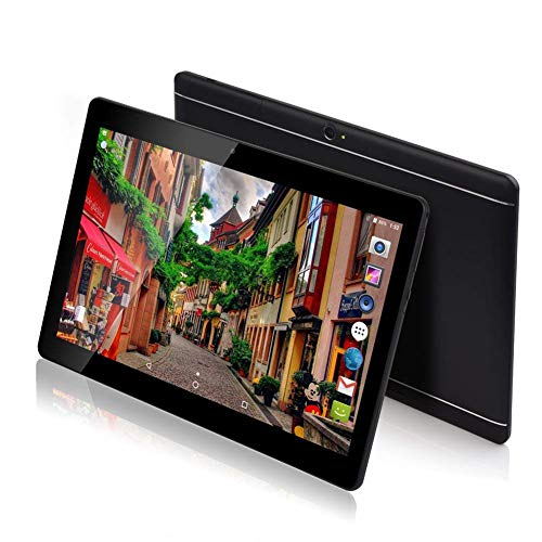MANJEE 10 inch Android Tablet Unlocked Pad with Dual SIM Card Slot 10.1' IPS Screen 4GB RAM 64GB ROM 3G Phablet Built-in Bluetooth WiFi GPS Tablets (Metallic Black)