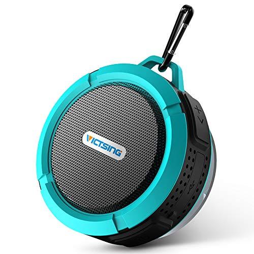 VicTsing Shower Speaker, Wireless Waterproof Speaker with 5W Driver, Suction Cup, Built-in Mic, Hands-Free Speakerphone-Blue