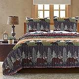 Greenland Home Black Bear Lodge Quilt Set, 3-Piece Full/Queen