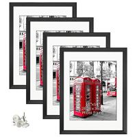Giftgarden 16x20 Poster Frames Set of 4, Display Photos 11x14 with Mats or 16 x 20 without Mats Black Picture Frame for…