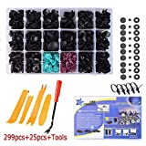 299PCS Car Retainer Clips Bump Clips Trim Clips with 18 Most Popular Sizes Auto Push Pin Rivets for Benz, BMW, Toyota, Honda, Subaru, Nissan
