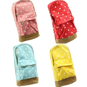 LEFV Mini School Bag Pen Case Student's Canvas Pencil Case Children Pen Bag Portable Fashion Polka Dot Cosmetic Makeup…