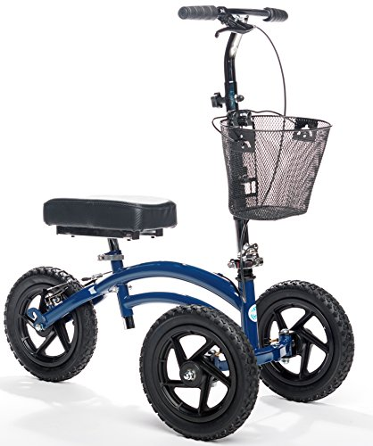 All Terrain KneeRover Steerable Knee Scooter Knee Walker Heavy Duty Crutches Alternative in Blue