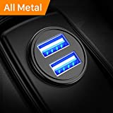 AINOPE Car Charger, 4.8A All Metal Car Charger Adapter Dual USB Port Fast Car Charging Mini Flush Fit Compatible with iPhone Xs max/XR/x/7/6s, iPad Air 2/Mini 3, Note 9/Galaxy S10/S9/S8 - Black