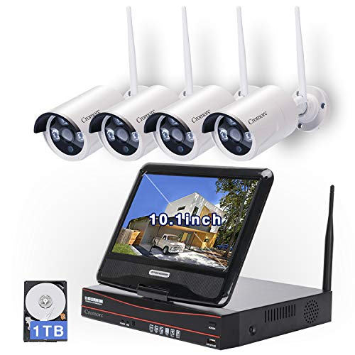 All in one with 10.1' Monitor Wireless Security Camera System, Cromorc Home Business CCTV Surveillance 4CH 1080P NVR Kit, 4pcs 1.3MP 960P Indoor Outdoor Night Vision Bullet IP Camera, 1TB Hard Drive