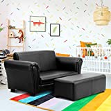 Costzon Kids Sofa Set 2 Seater Armrest Children Couch Lounge w/Footstool, ASTM and CPSIA Certified (Black)