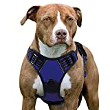 Eagloo Dog Harness No Pull, Walking Pet Harness with 2 Metal Rings & Handle Adjustable Reflective Breathable Oxford Soft Padded Easy Control Front Clip Vest Harness Outdoor for Large Dogs Blue