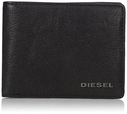 51nReFg57rL Leather bifold wallet featuring raised metallic logo letters at bottom corner Black cotton lining