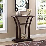 Product review for Cappuccino Finish Hall Console Sofa Entryway Accent Table with Curved Legs