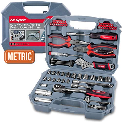 Hi-Spec 67 Piece METRIC Auto Mechanics Tool Set - Professional 3/8' Quick Release Offset Ratchet with 72 Teeth, 4-19mm METRIC Sockets Set, T-Bar, Extension Bar, Hand Tools & Screw Bits in Storage Case