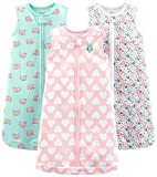 Simple Joys by Carter's Baby Girls' 3-Pack Cotton Sleeveless Sleepbag, Pink Heart, Floral, Mint Elephants, 0-3 Months