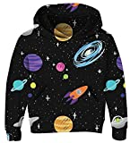 UNICOMIDEA Hoodie for Kids Long Sleeves Pullover Galaxy Sweatshirt Print Trendy White Sweater with Fleece Plush Lining Size M