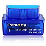Panlong Bluetooth OBD2 OBDII Car Diagnostic Scanner Code Reader Check Engine Light for Android - Compatible with Torque Pro
