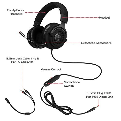 PS4 Xbox One Gaming Headset Stereo with Microphone Mute 3.5mm Wired ...