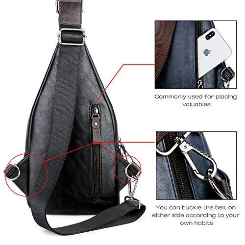 Alena Culian Sling Backpack Men Leather Chest Bag Crossbody Shoulder Bag For Men(black) 17 Fashion Online Shop gifts for her gifts for him womens full figure