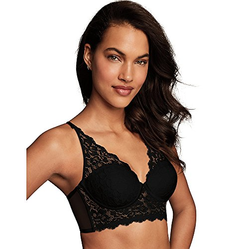 61WCIWRcsUL Wireless foam-lined cups provide shaping and support. Multi-way convertible straps can be worn halter, criss-cross, or traditional. Longline frame with lace front panel and mesh back panel.