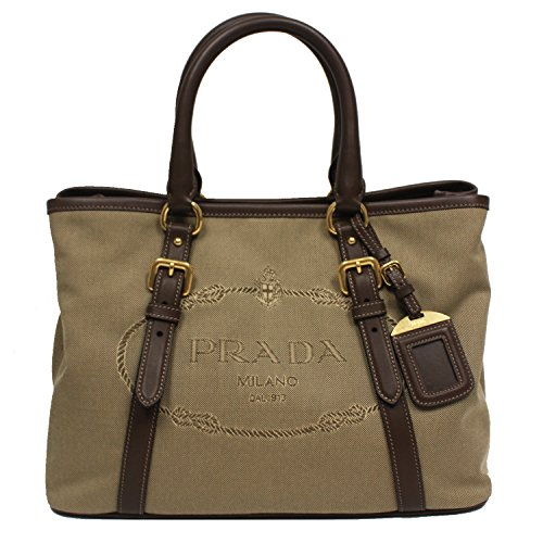 51nbEIeTlVL Prada logo jacquard borsa mano top-handle satchel bowling bag with removable leather shoulder strap with 21 inch strap drop model number 1BA832, dark beige canvas material with brown leather trim double rolled leather handles, gold hardware, Prada triangle logo trademark