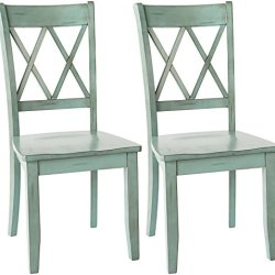 Ashley Furniture Signature Design – Mestler Dining Room Side Chair – Wood Seat – Set of 2 – Blue/Green