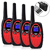 Walkie Talkies, Befove Rechargeable 22 Channel Two Way Radios Long Range Handheld Walkie Talky for Kids Adult, Red 4 Pack