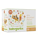 Babyganics Ultra Absorbent Diapers, Size 3, 184 Count
