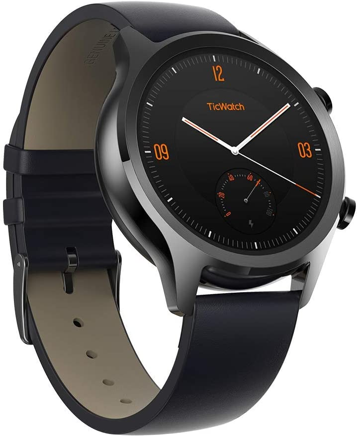 TicWatch C2 Smart Watch Classic Design Fashion Smartwatch with All Day Heart Rate, GPS, NFC, Notifications and Alert, Compatible with Android and iOS ( Onyx )