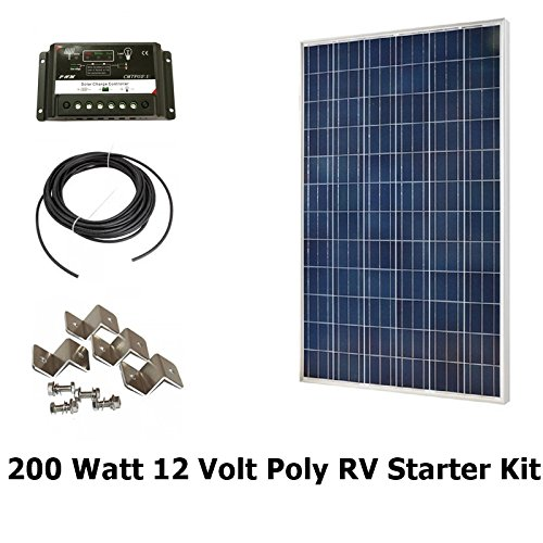 Infinium 200 Watt Solar Panel Complete Off-Grid RV Boat Kit 2 x 100 Watt +  30 AMP USB PWM Charge Controller + 30′ Solar Cable + Z Mounting Brackets
