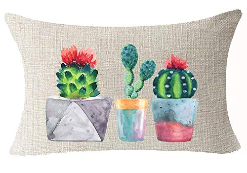 Beautiful Tropical Plant Various Cactus Potted Plants Design Cotton Linen Home Office Decorative Throw Waist Lumbar Pillow Case Cushion Cover Rectangle 18X18 Inches