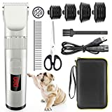 Avaspot Dog Clippers, Professional Cordless Electric Dog Grooming Kit, Low Noise Pet Clippers Rechargeable Dog Cat Shaver, Hair Trimmer for Thick Coats Small Dog All Pets