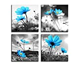 HLJ ART Modern Salon Theme Black and White Peacock Blue Vase Flower Abstract Painting Still Life Canvas Wall Art for Home Decor 12x12inches 4pcs/Set (Blue, 12x12inchesx4pcs (30x30cmx4pcs))