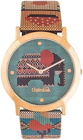 Chumbak Tribal Elephant Aztec Watch – Watch for Women, Analog Strap Watch, Metal Dial, Ladies Wrist Watch, Casual Watch for Girls, Printed Strap