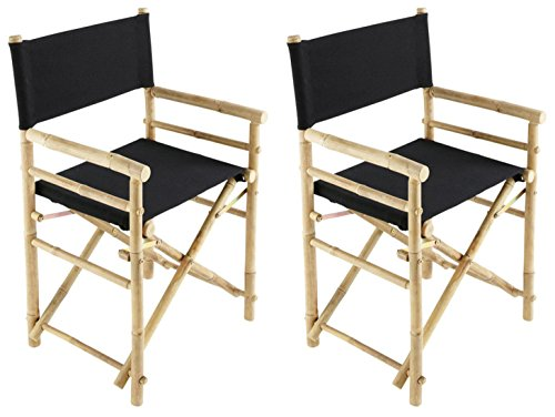 Zew Hand Crafted Foldable Bamboo Director's Chair with Treated Comfortable Canvas, Black, Folding Chairs Set of 2