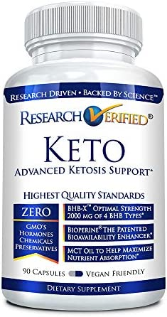 Research Verified Keto - Vegan Keto Supplement with 4 Exogenous Ketone Salts (Calcium, Sodium, Magnesium and Potassium) and MCT Oil to Boost Energy, Weight Loss and Focus in Ketosis - 1 Bottle 5