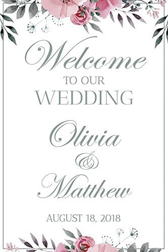 Wedding Reception Sign White Wedding Banner Welcome To Our Wedding Wedding Party Banner Wedding Party Signs Custom Wedding
