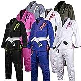 Hawk Kids Brazilian Jiu Jitsu Suit Youth Children BJJ Gi Kimonos Boys & Girls BJJ Uniform Lightweight Preshrunk Pearl Weave Fabric, with Free White Belt, 1 Year Warranty!!! (K2, Black)