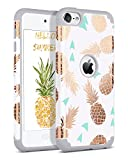 BENTOBEN iPod Touch 5 Case,iPod Touch 6 Case,Hybrid Solid PC Back Cover Soft Silicone Bumper Pineapple Pattern Shockproof Heavy Duty Protective Case Cover for iPod Touch 5th/6th Generation,White/Grey