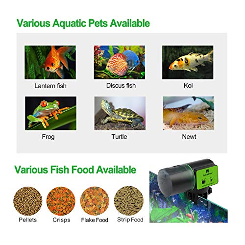Automatic Fish Feeder for Aquarium Tank, Moisture-Proof Electric Auto Fish/Turtle Feeder for Flakes, Aquarium Tank Timer Feeder Vacation &Weekend Fish Food Dispenser 8