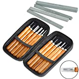 TIMESETL 17Pack Small Wood Carving Set, 12pcs Wood Carving Tools SK2 Carbon Steel + 4pcs Whetstone + 1pcs Storage Case for Beginners DIY Woodworking Sculpting Whittling with Safety Cap