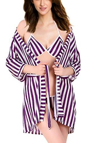 Xs and Os Women's Satin Striped Above knee Lingerie Set