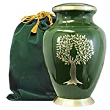 Tree of Life Classy Adult Green Urn for Human Ashes - Beautiful, Classic Green and Gold Large Urn Honors Your Loved One - Find Comfort and Peace with This Quality and Thoughtful Urn - with Velvet Bag
