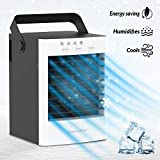 Key Power Hot Summer Edition - Portable Air Conditioner Cooling Fan, Ultrasonic Humidifier Mist Ice-Cold Clean Air, Super Quiet Evaporative Cooler, Personal Space Desk Table Fan for Office and Home