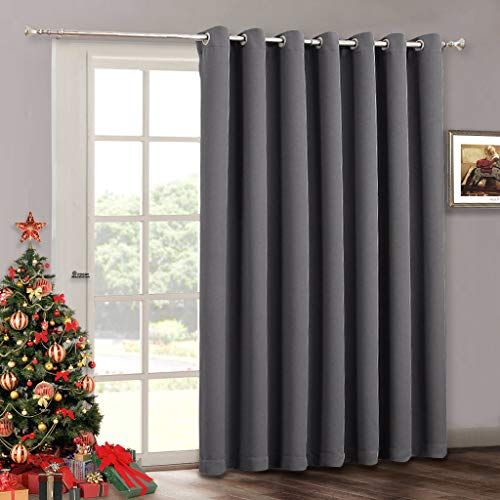 Blackout Patio Door Curtain Blinds - Home Decoration Adjustable Energy Smart Thermal Insulated Vertical Blind Solid Gray Window Treatment Drapes for Hotel/Sliding Door, Wide 100 x Long 84 inch, Grey