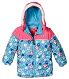 Rugged Bear Baby Girls' Floral Printed Puffer, Blue, Toddlers Size 4T