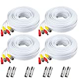 BNC Cable, 150ft 4Pack All-in-One Siames Video and Power Security Camera Wire Cord with 2 Female Connectors for All HD CCTV DVR Surveillance System (4x150FT BNC Cable White)