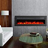 GMHome 40 Inches Wall Recessed Electric Fireplace 9 Changeable Color Realistic Crystal Stone Flame Heater, with Remote, 1500W, Metal Panel - Black